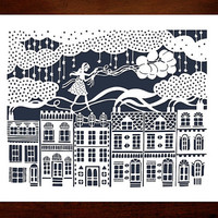Original Papercut Illustration - Girl on the Rooftops with Balloons - 8x10 Fine Art Print