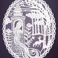 Rapunzel Fairy Tale Illustration - Original Papercut 8x10 Print - Purple and White
