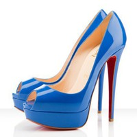 Christian Louboutin Lady Peep 150mm Blue - $186.00