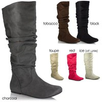 Womens Slouchy Flat Boots Comfort Multi Color Black Soda Shoes Zuluu Faux-Suede
