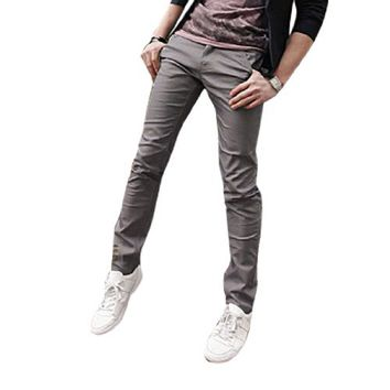 Men Zipper Fly Two Slant Pockets Slim Fitted Casual Pants