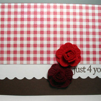 Handmade Valentine Card Just 4 u Rose by MissTanDesigns on Etsy