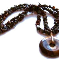 Glowing Golden Brown South African Tigereye Stone and Bronze Necklace