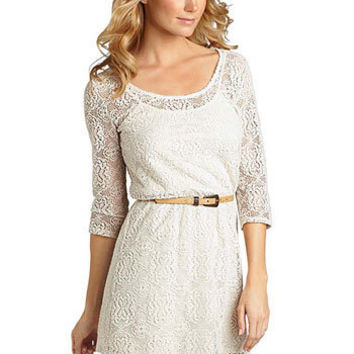 Faith Long-Sleeve Crochet Dress at Alloy