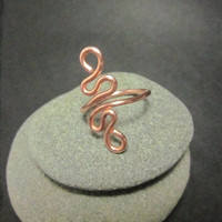 Copper Squiggle Ring, Size 7