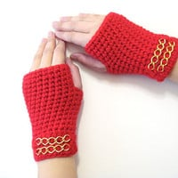 Crochet Fingerless Gloves, Red Gloves, Adult fingerless gloves, Wrist warmer, Winter gloves, winter gifts, For her