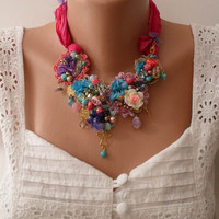 New - Unique Necklace - Wedding Necklace - Handmade Design - Summer Colors - Crochet and Bead Necklace