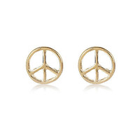 Gold tone peace sign stud earrings