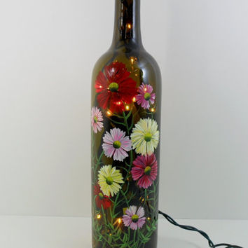 Lighted wine bottle multi colored daisy from for Painting flowers on wine bottles