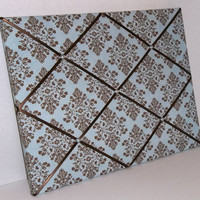 Cottontail Blue &amp; Brown Damask fabric ~ French Memo Board by ToileChicBoutique