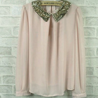 Women Elegant Embellished Paillette Glitter Peterpan Collar Peplum Top Blouse J