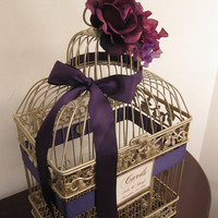 SALE Champagne Bird Cage Wedding Card Holder by SouthburyTreasures