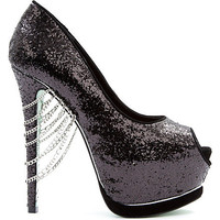 Midnight Glitter chain detail courts - CHLOE JADE GREEN - High heels - Shop Heels - Shop Women - Shoes | selfridges.com