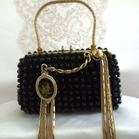 Formal Black Clutch, Vintage Beaded with gold chains, Renaissance Cameo, Haute Couture Evening Purse by La Marelle Couture, LAYAWAY PLANS