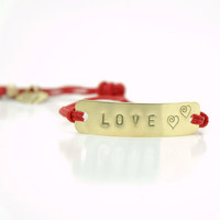 Custom Initials Personalized Hand Stamped Love Heart Bracelet  -  Brass Minimalist Tag Bracelet with Cotton Red Cord - Valentine&#x27;s Day Gift