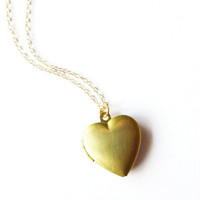 Gold Heart Locket Necklace - Minimal - Minimalist - Cute - Adorable - Elegant - Romantic - Whimsical - Whimsy - Dreamy - Valentines Day