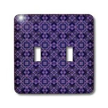Jaclinart Midnight Purple Abstract Geometric Collection - Midnight purple and lavender richly ornate interlocking crosses pattern - Light Switch Covers - double toggle switch - Amazon.com
