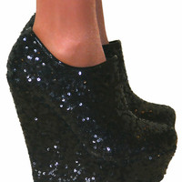 LADIES BLACK SEQUIN GLITTER PLATFORM HIGH WEDGE HEELS ANKLE SHOE BOOTS SIZE 3-8