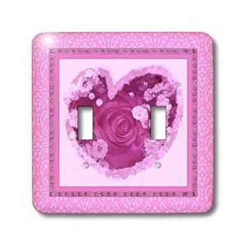 Amazon.com: Jaclinart Rose Heart Garden Nature Florals Flowers Damask - magenta purple heart rose surrounded by soft pink damask and tile frames - Light Switch Covers - double toggle switch: Home Improvement