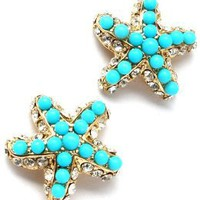 Fancy Sparkling Crystal and Turquoise Beaded Starfish Stud Earrings - Gold Plating