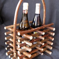 $28.00 Rustic Wine Carrier for Two Bottles by TheBentTreeGallery on Etsy