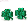ON SALE glitter shamrock earrings - shamrock earrings - shamrock studs - shamrock jewelry - clover earrings - clover studs - clover jewelry