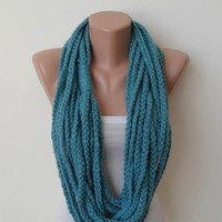 Gift - Valentine's Day - Chain Necklace Scarf  - Wool Crochet Knit Scarf - Blue -Infinity - Circle - Circular - Cowl by Umbrella Design