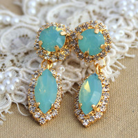 Elegant Crystal mint Marquis earring - 14 k plated gold earrings real swarovski rhinestones.