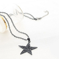 Black Rhinestone Star Necklace