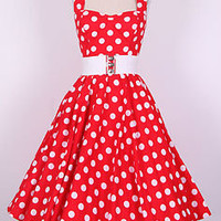 50s BigWhiteDot/Red All Sizes Pinup Vintage Swing Dress Rockabilly Polka Dot