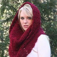 Deep Red Textured Cowl Scarf  Hood Scarf
