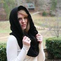 Black Onyx  Cowl Scarf  Snood Scarf  With Touch of Sparkle