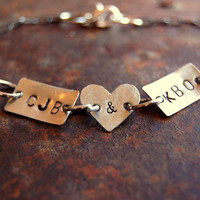 Custom Personalized hand stamped metal Bracelet by harlowlane