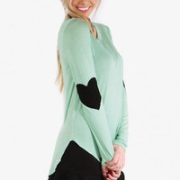 Mint High-Low Heart Patch Top
