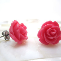 Bright pink rose earrings deep pink roses on by LazyOwlBoutique