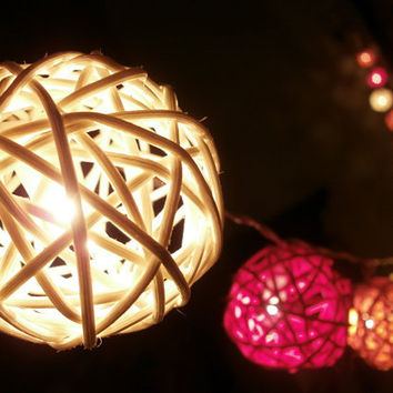 20 PCs. Red Yellow and White rattan string light with 3 m. wire and adapter for room and party decoration