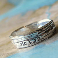 Rustic Bark Ring Personalized Silver Jewelry by HappyGoLicky