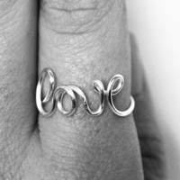 Wire Love Ring, Word Rings, Love Jewelry, Dainty Ring, Bridesmaid Jewelry, Love Ring, Weddings, Valentines Day