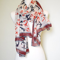 Anchors Nautical Scarf Shawl Wrap Light Weight Sailor Gift Idea