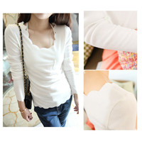 Korean Causal Long Sleeve T Shirt Slim Blouse Women&#x27;s Wave Lace Collar Top T28