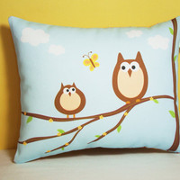Owl Pillow Mama and Baby Woodland Owls by persnicketypelican