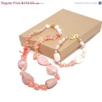 Hand Knotted Necklace - Pink Necklace - Gemstone Jewelry - French Garden Ooak