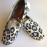 leopard print-hand painted on TOMS shoes-made to order