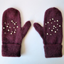 Mittens with Pearls in Wine - Winter Accessories - Soft Mittens - Hand Knitted Mittens in Wine