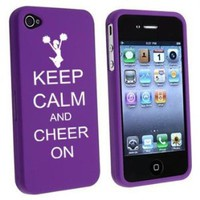 Amazon.com: Apple iPhone 4 4S Purple Rubber Hard Case Snap on 2 piece Keep Calm and Cheer On: Cell Phones & Accessories