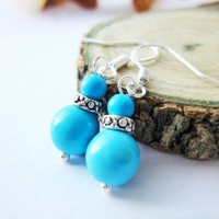Sea Blue Turquoise Round Semi Precious Stone Silver Earrings