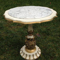 Vintage Italian French Provincial Style Pedestal Table / Marble Top / Gaudy Ornate / Vegas Baby