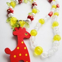 Girls Gifts Red Orange Giraffe Necklace Wooden Colorful Bright Animals
