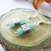 Amazonite Gemstone Cube Beads Sterling Earrings Blue Green Artfire