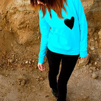 "The ""Dazzle Pocket"" Sweatshirt - ""New Color"" -Aqua Sweatshirt w/Sequin Heart Chest Pocket"